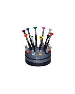 Bergeon 55-604 6899-S10 Rotating Stand with 10 Ergonomic Screwdrivers and 10 Tubes with Spare Blades Watch Repair Kit